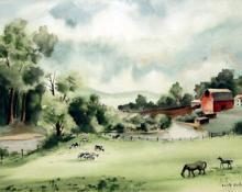 "Adolf Arthur Dehn, ""Untitled (Farm by a River)"", watercolor on paper, 1938"