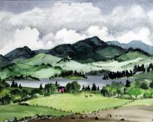 """Adolf Arthur Dehn, """"Deer Crossing, Colorado"""", watercolor on paper, c. 1935"""