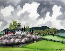 "Adolf Arthur Dehn, ""Orchard Blossoms"", watercolor on paper, c. 1930's"