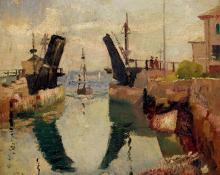 "Richard Hayley Lever, ""The Drawbridge, Westchester, NY"", oil, c. 1925"