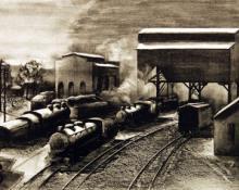 "Vina Jane Cames, ""Trains Awaiting Dispatch"", lithograph, 1941"