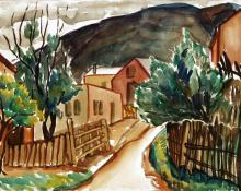 "Frances Marian Cronk, ""Untitled (In the Hills)"", watercolor on paper, d. 1941"