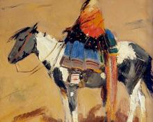 "Laverne Nelson Black, ""Untitled (Indian woman on horseback)"", oil, 1935"