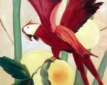 """M. W. Gabler, """"Untitled (Parrots)"""", oil on canvas, c. 1935"""