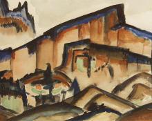 "Frank Applegate, ""Arizona Cliff"", watercolor, c. 1925"