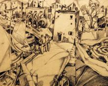"John Liello, ""Untitled (Pier)"", graphite on paper, 1922"