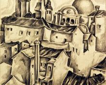 "John Liello, ""A View from the Doges Palace, Venice"", graphite on paper, c. 1925"