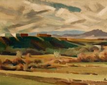 "Kenneth Miller Adams, ""Untitled (Adobes and Mesa, New Mexico)"", oil, c. 1935"