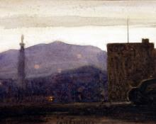 """Carl Eric Olaf Lindin, """"Ventura, California"""", watercolor on paper, c. 1923-4"""