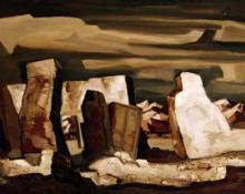 """Doel Reed, """"Elements of Grandeur"""", oil on canvas, c. 1945"""