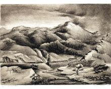 """Percy Hagerman, """"Rocky Mountain Memories"""", lithograph, 1941"""
