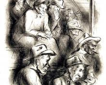 "George Vander Sluis, ""Cattle Auction (For Laura); edition of 20"", lithograph, d. 1947"
