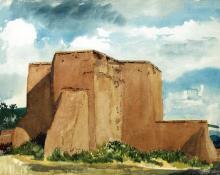 "Morris Atkinson Blackburn, ""Rancho de Taos Church"", watercolor on paper, c. 1950"