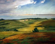 "Carl Eric Olaf Lindin, ""Landscape at Nantucket"", oil, c. 1915"