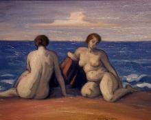 "Carl Eric Olaf Lindin, ""Untitled (Women on the Beach)"", oil, c. 1920"