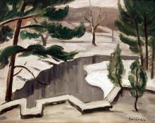 "Carl Eric Olaf Lindin, ""Talldungen, Woodstock (the artist's back yard)"", oil, c. 1915"
