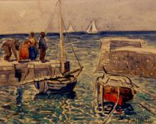 """Carl Eric Olaf Lindin, """"Untitled (Harbor)"""", watercolor on paper, c. 1920"""