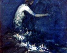 "Carl Eric Olaf Lindin, ""Untitled (Mermaid)"", watercolor on paper, c. 1900"
