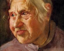 """Carl Eric Olaf Lindin, """"Portrait of an Old Woman"""", oil, c. 1900"""