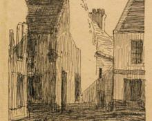 "Carl Eric Olaf Lindin, ""Untitled (European Village)"", ink on paper, c. 1895"