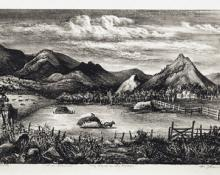 """Fred Shane, """"Hay Field in the Rockies, For Reaves, edition of 25"""", lithograph, 1945"""