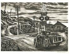 """Carlos Andreson, """"Untitled (Railroad Crossing)"""", lithograph, c. 1940"""