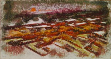 """Howard Norton Cook, """"Setting Sun (Taos)"""", oil, c. 1945"""