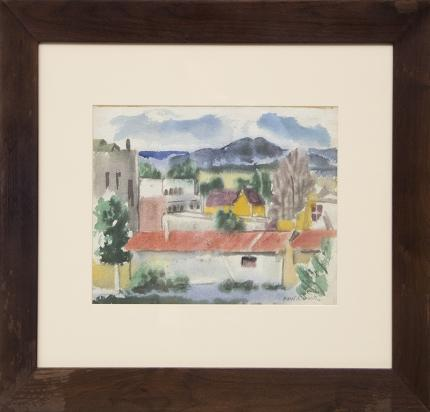 "Paul Kauvar Smith, ""Sketch Made in Taos, New Mexico"", watercolor, c. 1945 for sale purchase consign auction denver Colorado art gallery museum"