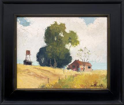 """Jon Blanchette, """"Untitled (Barn and Silo, California)"""", oil, circa 1955 painting fine art for sale purchase buy sell auction consign denver colorado art gallery museum"""