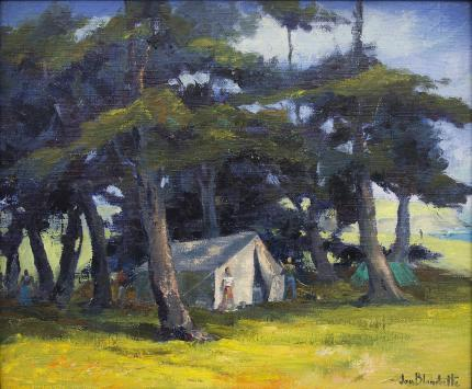 """Jon Blanchette, """"Mendocino Hippies (California)"""", oil, circa 1955 painting fine art for sale purchase buy sell auction consign denver colorado art gallery museum"""