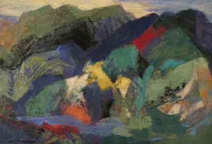 "Ethel Magafan, ""Mountain and Stream"", tempera, c. 1950"