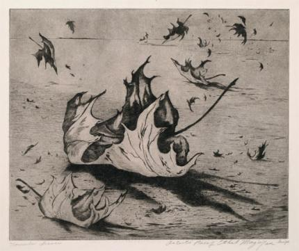 "Ethel Magafan, ""November Leaves, Artist Proof"", etching, c. 1947"