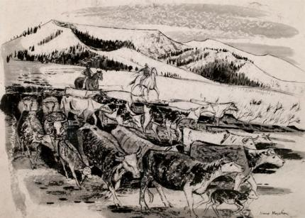 "Jenne Magafan, ""Cattle Roundup"", ink on paper, c. 1941"