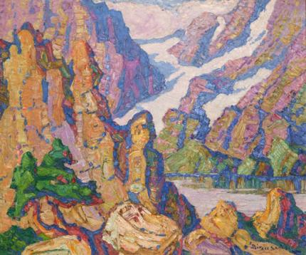 "Sven Birger Sandzen, ""Lake Haiyaha, Rocky Mountain National Park, Colorado"", oil on canvas, 1927"