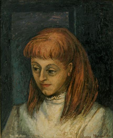 "Jenne Magafan, ""Self Portrait (To Mother)"", oil, c. 1945"