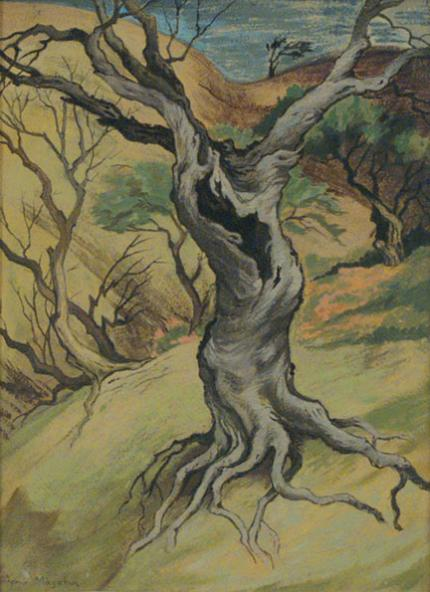 """Jenne Magafan, """"Old Tree"""", gouache on paper, c. 1942"""