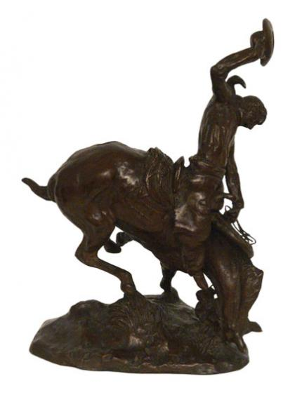 """Charles Marion Russell, """"Bronco and the Buckeroo (on The Weaver)"""", bronze"""