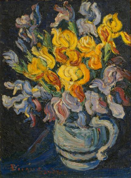 """sandzén, Sven Birger Sandzen, """"Untitled (Irises)"""", oil on canvas, c. 1920"""