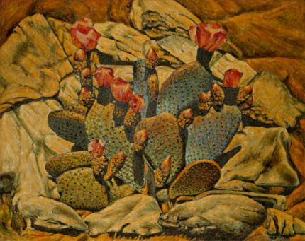 """Frank J. Gavencky, """"Flowering Cactus"""", oil, c. 1935"""