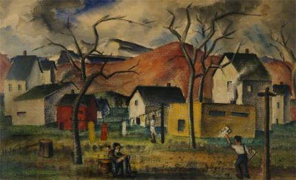 """Charles Ragland Bunnell, """"The Way War First Comes"""", watercolor on paper, 1940 painting for sale"""