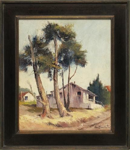 "Jon Blanchette, ""Harbor Masters House, Santa Cruz (California)"", oil, mid 20th century painting fine art for sale purchase buy sell auction consign denver colorado art gallery museum"