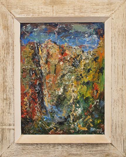 """Charles Ragland Bunnell, """"Landscape Abstracted"""", vintage oil painting for sale, 1965, charlie, mid-century modern, red, blue, yellow, green"""