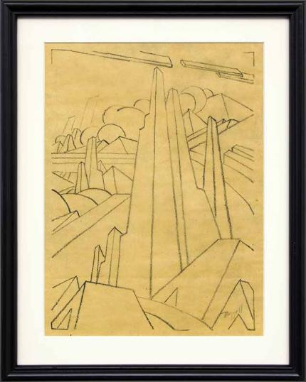 Charles Bunnell original vintage drawing for sale, modernist Rock Formations with Clouds, charcoal, circa 1930, wpa era