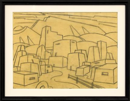 charles bunnell kansas city landscape drawing for sale, houses and hills, modernist, wpa era, regionalist