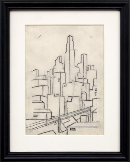 Charles Bunnell art for sale, Kansas City Skyline, graphite, circa 1935, wpa era, modernist