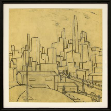 Charles Bunnell original vintage drawing for sale, Kansas City, modernist, graphite, circa 1930, wpa era, regionalist art