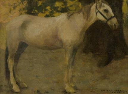 "Eanger Irving Couse, ""Untitled (Study of a Horse)"", oil on canvas, July 16, 1901"