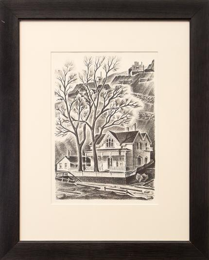 """Arnold H. Ronnebeck, """"House at Gregory Point (Colorado); edition of 25"""", lithograph, 1937 for sale purchase consign auction denver Colorado art gallery museum"""