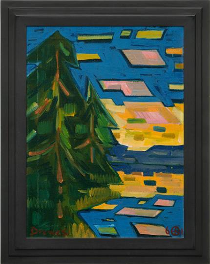 "Werner Drewes, ""Mountain Lake (Colorado)"", oil, 1961"