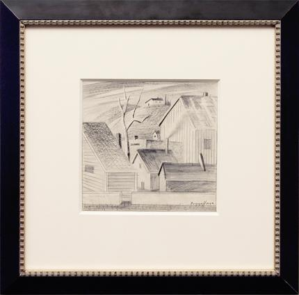 "Charles Ragland Bunnell, ""Untitled (Houses and Tree)"", graphite, 1942 for sale purchase consign auction denver Colorado art gallery museum"